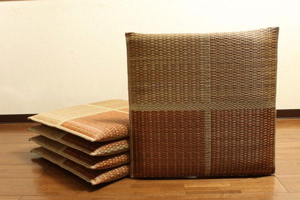 純国産 織込千鳥 い草座布団 『フブキ 5枚組』 ブラウン 約55×55cm×5P(代引不可)【送料無料】