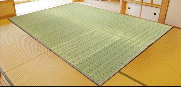 純国産 掛川織 い草カーペット 『粋』 グリーン 江戸間6畳(約261×352cm)(代引不可)【送料無料】