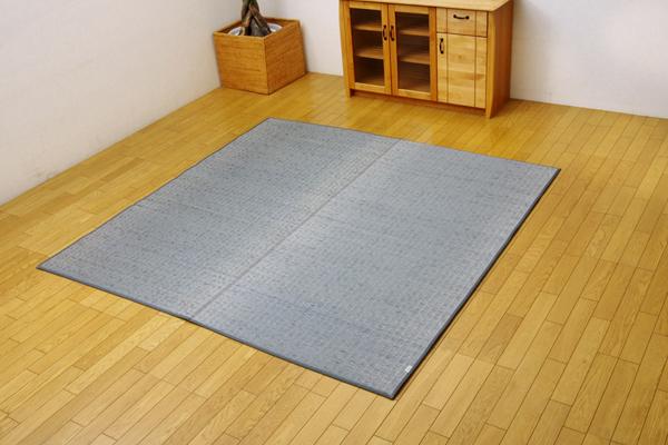 ラグ カーペット マット い草中敷ラグ 裏貼り クッション 2.9畳 日本製 い草 無地 『Fプラード』 グレー 約190×250cm(代引不可)【送料無料】