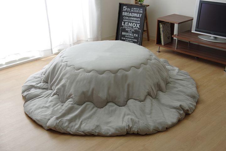 こたつ布団 丸型 円形 掛け単品 デニム 『先染めデニム』 グレイ 約225cm丸 厚掛けタイプ(代引不可)【送料無料】