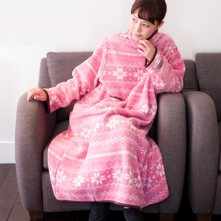 お買い得品 着る毛布 ヌックミィ 着るブランケット ブランケット 毛布 フリース NuKME ショートサイズ ひざ掛け ガウンケット 着丈125cm スノー柄 お気にいる
