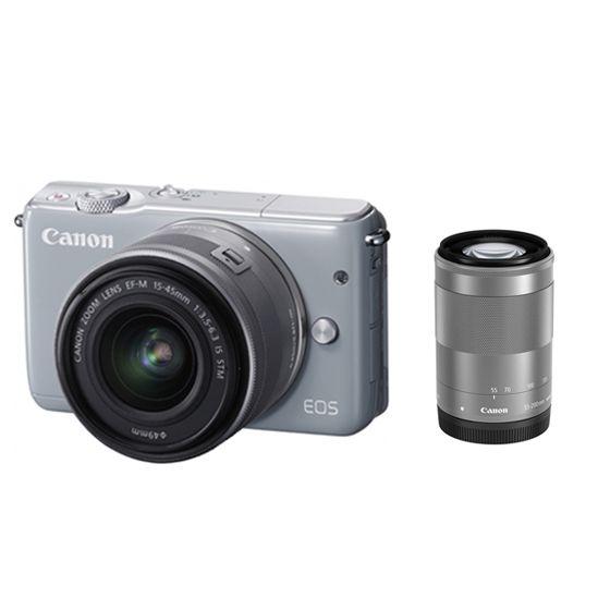 キヤノン <EOS>Canon ミラーレス一眼カメラ EOS M10・ダブルズームキット(1800万画素/グレー)[0923C034] EOSM10GY-WZK(代引き不可)