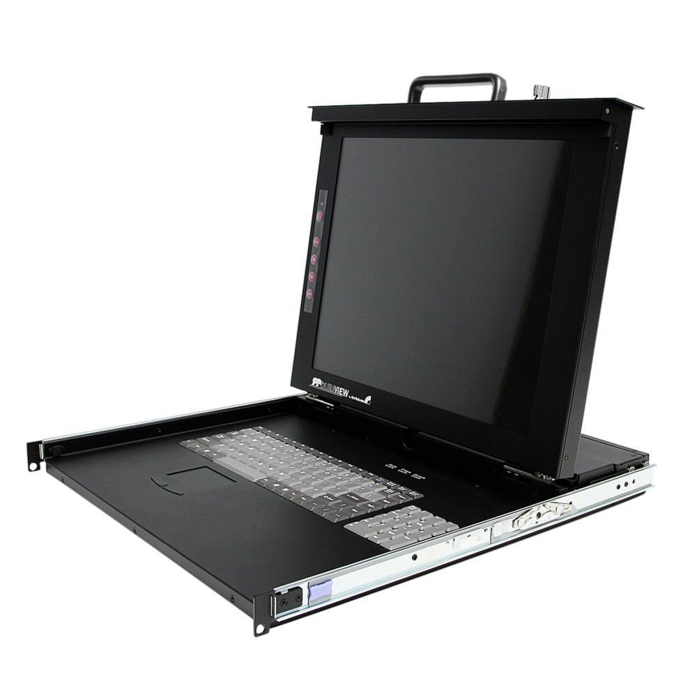 StarTech 1U 17インチ サーバーラック用KVMドロワー ラックマウント型LCD一体型コンソールドロワー 8ポートKVMスイッチ搭載 RACKCONS1708(代引き不可)