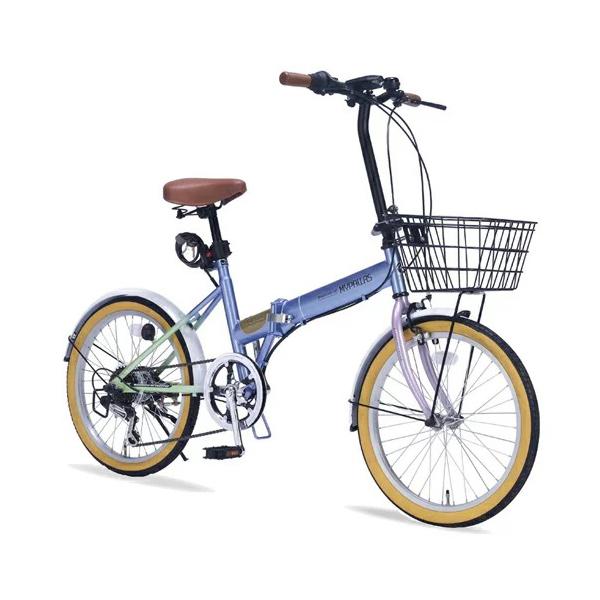 マイパラス MYPALLAS 折りたたみ自転車 20インチ M-252 5色 6段ギア カゴ付(代引不可)【送料無料】