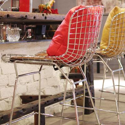 ワイヤーバースツールHigh カウンターチェア ハリー・ベルトイア デザイナーズ家具 本革仕様(代引不可)【送料無料】