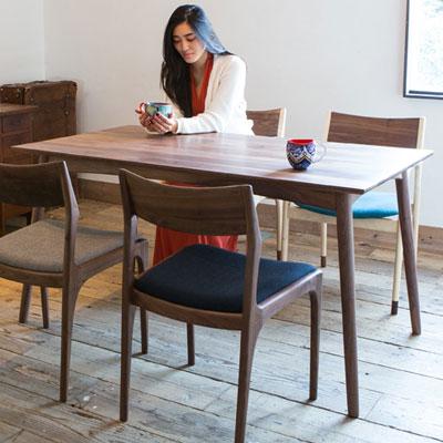 ノードダイニングテーブル Mサイズ 140cm ウォルナット 無垢材(代引不可)【送料無料】