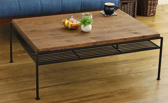 リビングテーブル テーブル ロー センター 天然木 無垢材 ヴィンテージ エイジング加工 北欧 木製 おしゃれ 幅90(代引不可)【送料無料】