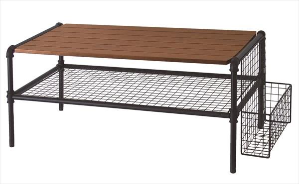 JET BLACK テーブル リビングテーブル センターテーブル ローテーブル 机 メッシュ棚 木製天板 スチールフレーム レトロ(代引不可)【送料無料】