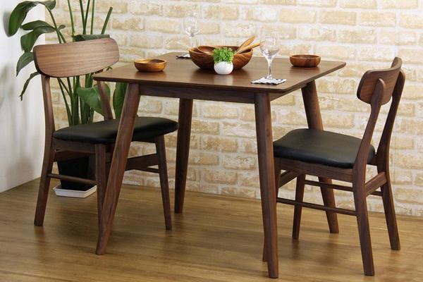 ダイニング3点 おしゃれな ダイニング テーブル 食卓 食卓テーブル 木製 無垢 無垢材 天然木 北欧 ウォールナット(代引不可)【送料無料】【int_d11】