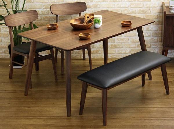ダイニング4点 おしゃれな ダイニング テーブル 食卓 食卓テーブル 木製 無垢 無垢材 天然木 北欧 ウォールナット(代引不可)【送料無料】【int_d11】