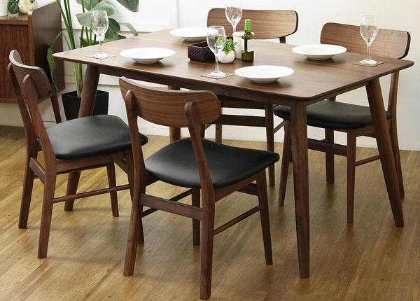 ダイニング5点 おしゃれな ダイニング テーブル 食卓 食卓テーブル 木製 無垢 無垢材 天然木 北欧 ウォールナット(代引不可)【送料無料】【int_d11】