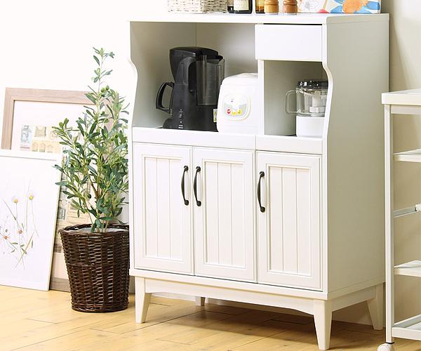 レトロア キッチンカウンター 幅83cm 食器棚 カップボード レンジ台 レンジボード キッチン 収納 木製 おしゃれ(代引不可)【送料無料】【int_d11】