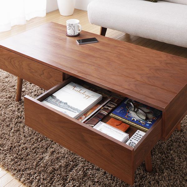テーブル ウォールナット 引き出し 木製 ローテーブル センターテーブル 北欧 天然木 [引き出し付きウォールナット突板テーブル Harum ハルム] (代引き不可) 【送料無料】