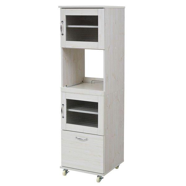 スリム レンジ台 食器棚 レンジラック 幅 45 H156 キッチン スライド キッチンラック ラック ホワイト(代引不可)【送料無料】