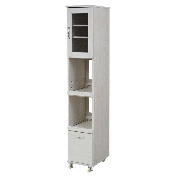 スリム キッチンラック キッチンワゴン 隙間タイプ レンジ台 食器棚 レンジラック 幅 32.5 H180 収納棚 ホワイト(代引不可)【送料無料】