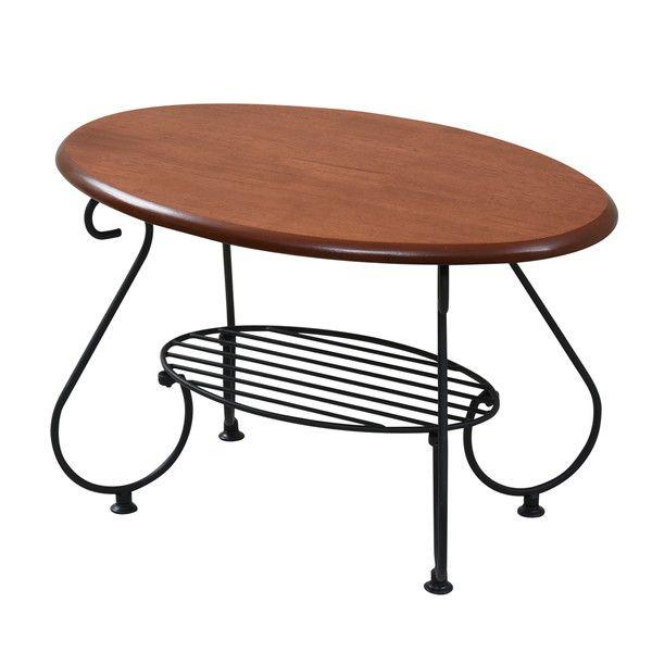 ヨーロッパ風 ロートアイアン 家具 楕円 センターテーブル 幅65cm ソファテーブル ローテーブル サイドテーブル ブラック(代引不可)【送料無料】