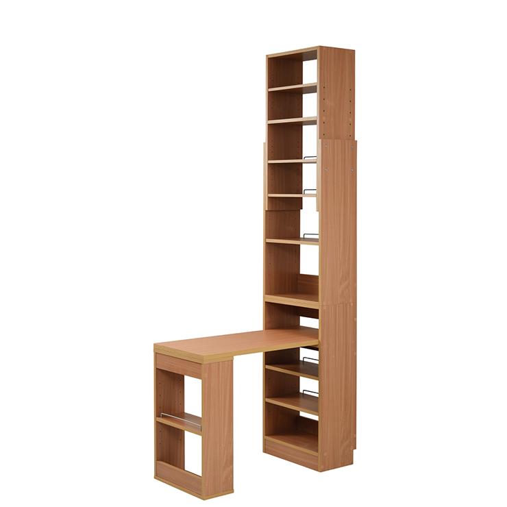 本棚 付き デスク 天井 突っ張り 本棚 付き 幅90 奥行45 高さ204 から 高さ249 デスクラック 薄型 書斎机 ナチュラル(代引不可)【送料無料】
