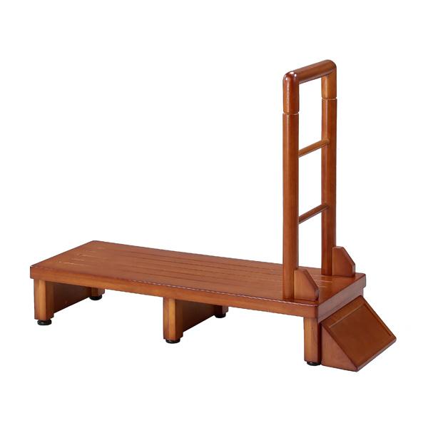 手すり付き玄関台 幅90cm 手すり ステップ 台 玄関 段差 踏み台 木製 昇降 足場(代引不可)【送料無料】