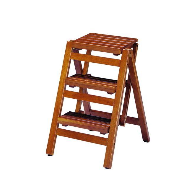ステップチェア3段 FST-65 収納 チェア 3段 折り畳み 木製 ステップチェア スツール 脚立 昇降台 ブラウン ナチュラル(代引不可)【送料無料】