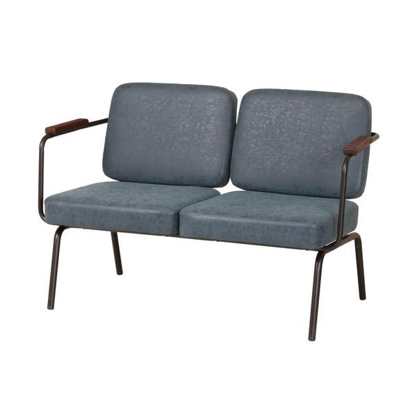 ソファ 2P 二人掛け 幅116.5cm 木肘 sofa ソファー 木製 アイアン おしゃれ 新生活(代引不可)【送料無料】