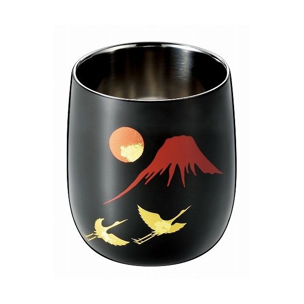アサヒ こだわりの極み 食楽工房 2重ロックカップ赤富士に鶴 SCW-D963【送料無料】