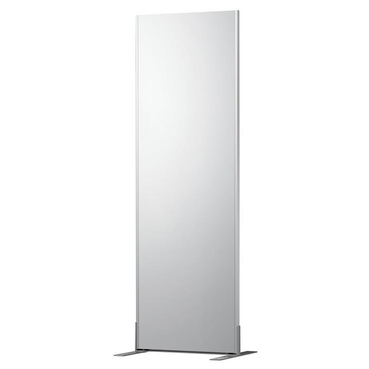 【割れないミラー】 フィットネススタンドミラー シルバー 幅60(61)×高さ180(182)×厚さ2.7cm 鏡 姿見鏡 全身鏡 割れない鏡(代引不可)【送料無料】