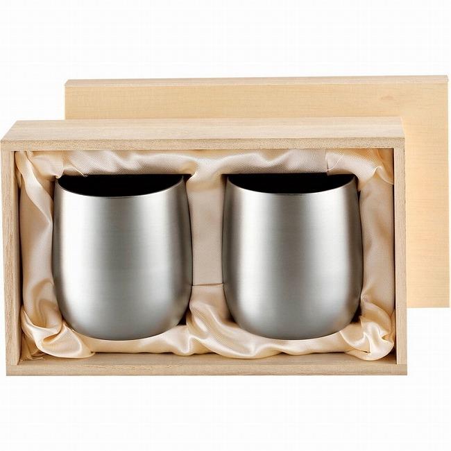 チタン2重ロックカップ250mlペアセット(木箱入) 食楽工房 霞(代引不可)【送料無料】