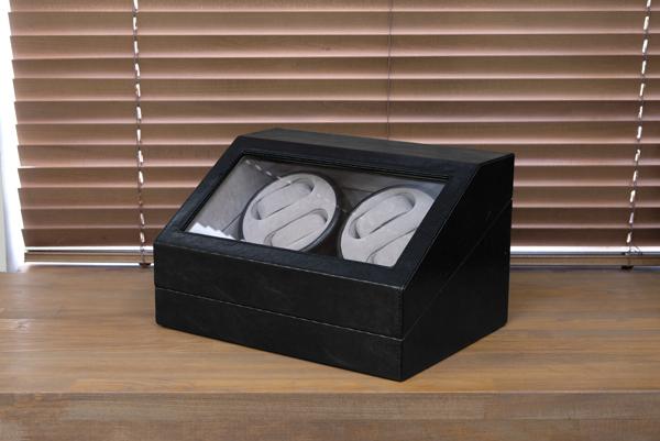 腕時計用 ワインディングマシーン 【4本巻 ブラック】 幅34cm 電源スイッチ アダプター 脚付き 【完成品】【代引不可】【ポイント10倍】