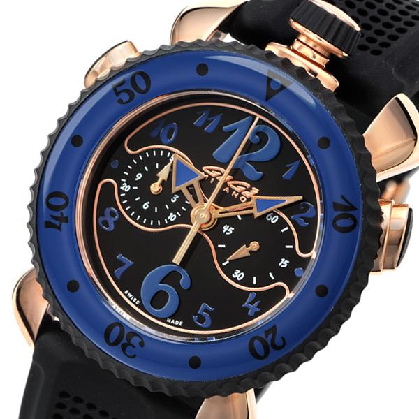 ガガ ミラノ クロノ スポーツ 45mm クオーツ メンズ 腕時計 701101 ブラック【送料無料】【ポイント10倍】
