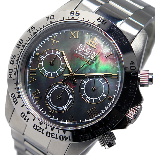 エルジン ELGIN クロノ クオーツ メンズ 腕時計 時計 FK1406S-B ブラックシェル