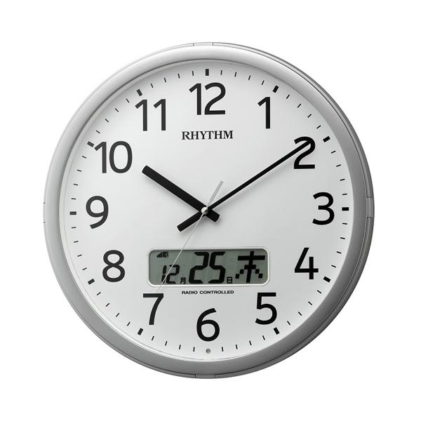 リズム RHYTHM プログラムカレンダー01SR 電波 掛け時計 4FNA01SR19 シルバー