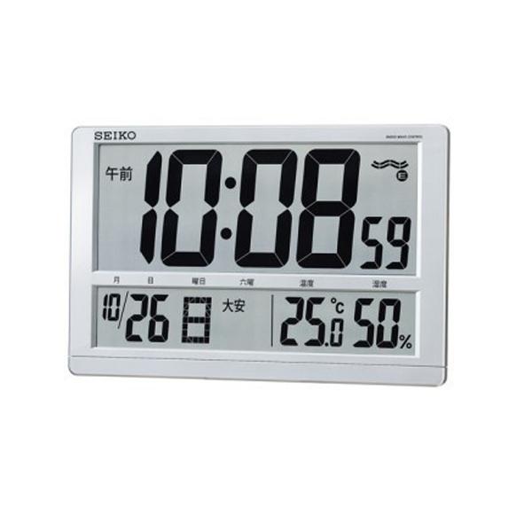 セイコー SEIKO クロック 電波 掛置兼用時計 温度湿度表示付き SQ433S シルバー