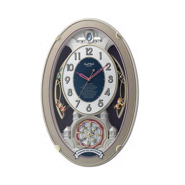リズム RHYTHM スモールワールドウィッシュ 電波掛時計 4MN544RH18 シルバー
