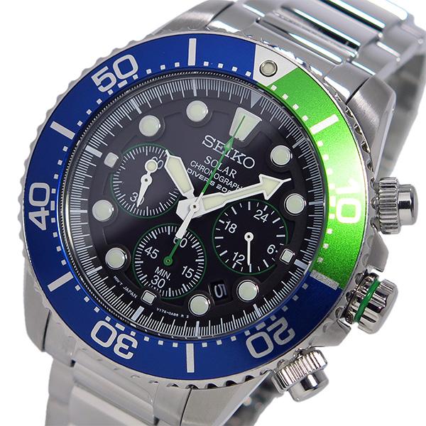 セイコー SEIKO クロノ ソーラー メンズ 腕時計 時計 SSC239P1 ブルー/グリーン【ポイント10倍】