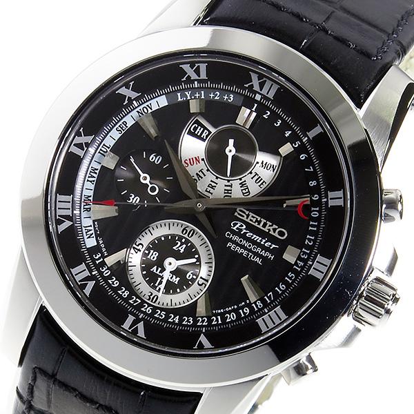セイコー SEIKO プルミエ クロノ クオーツ メンズ 腕時計 SPC161P2 ブラック【送料無料】【ポイント10倍】
