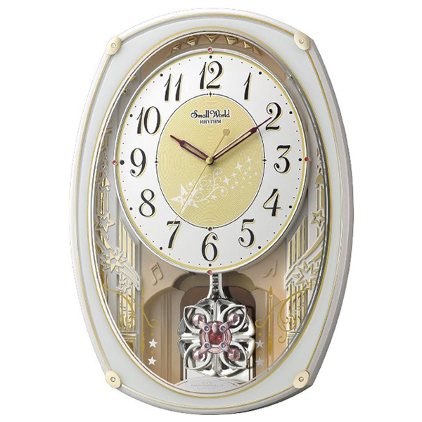 リズム スモールワールドステラ クオーツ 掛け時計 4MN542RH03 ホワイト/ゴールド