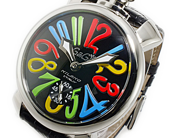 ガガミラノ GaGaMILANO マニュアーレ48 手巻き メンズ 腕時計 5010.02S-BLK【送料無料】