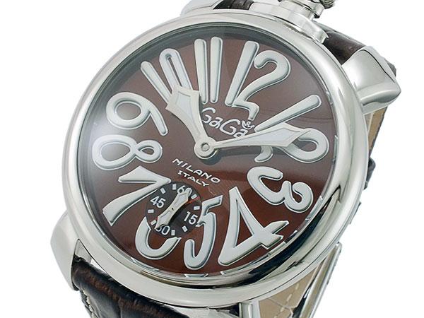 ガガミラノ GaGaMILANO マニュアーレ48 手巻き メンズ 腕時計 5010.13S-DBR【送料無料】【S1】