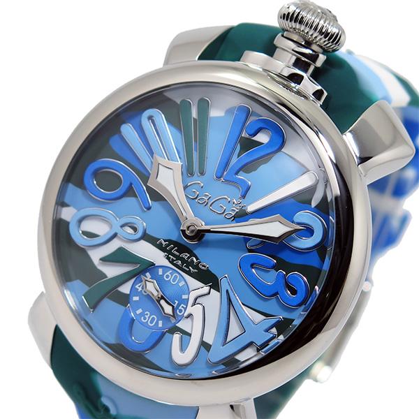 ガガミラノ GaGaMILANO マヌアーレ 手巻き メンズ 腕時計 5010-16S-SS ブルー【送料無料】