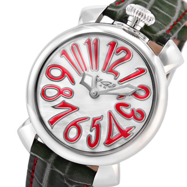 ガガ ミラノ マニュアーレ 40mm クオーツ レディース 腕時計 502010-GRY-NEW パール【送料無料】
