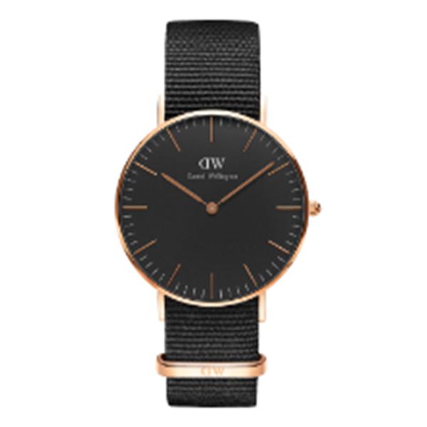 ダニエル ウェリントン クラシック ブラック コーンウォール/ローズ 36mm ユニセックス 腕時計 時計 DW00100150