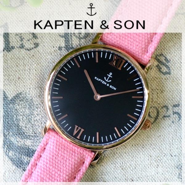 キャプテン&サン KAPTEN&SON 36mm ブラック/ピンクキャンバス レディース 腕時計 時計 GD-KS36BKPC