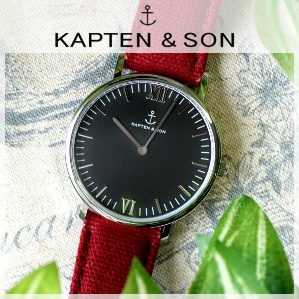 キャプテン&サン KAPTEN&SON 36mm ブラック/ボルドーキャンバス レディース 腕時計 時計 SV-KS36BKBC