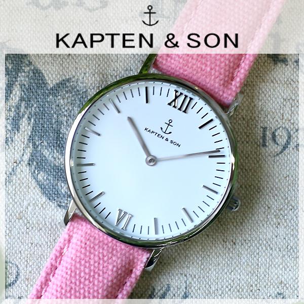 キャプテン&サン KAPTEN&SON 36mm ホワイト/ピンクキャンバス レディース 腕時計 時計 SV-KS36WHPC
