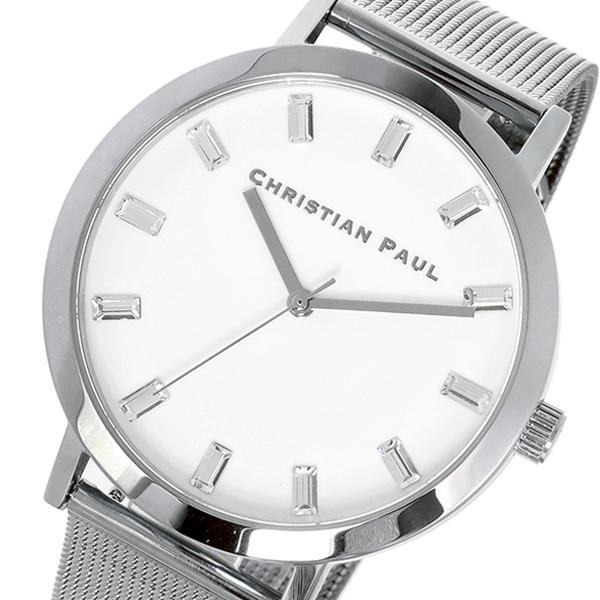 クリスチャンポール CHRISTIAN PAUL 43mm WHITEHAVEN LUXE MESH ユニセックス 腕時計 時計 SWM-03 シルバー/ホワイト