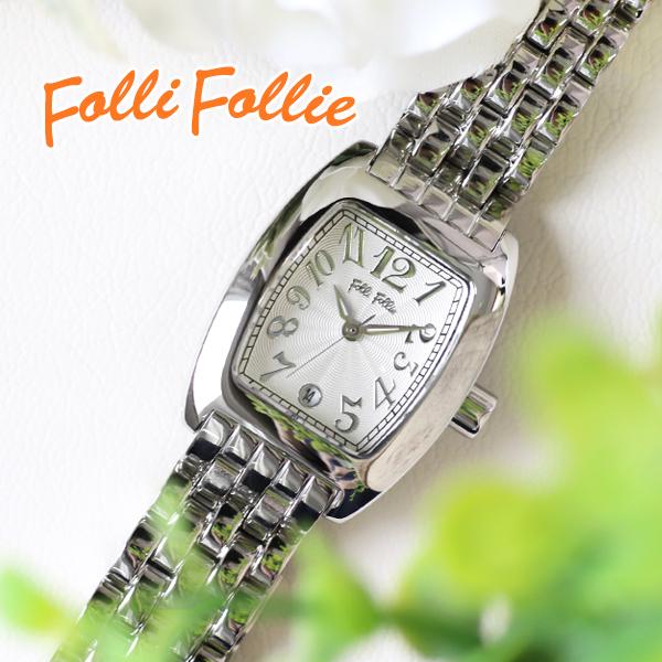 フォリフォリ FOLLI FOLLIE S922メタルベルト クオーツ レディース 腕時計 時計 WF5T080BDS ホワイト