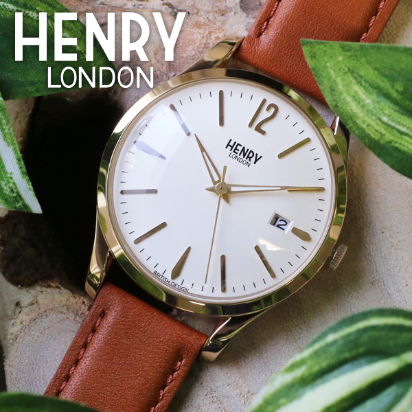 ヘンリーロンドン HENRY LONDON ウェストミンスター 39mm ユニセックス 腕時計 時計 HL39-S-0012 アイボリー/タン