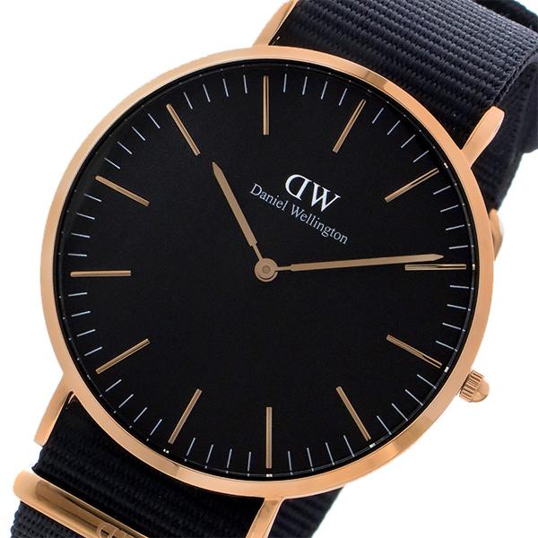 ダニエル ウェリントン クラシック ブラック コーンウォール/ローズ 40mm メンズ 腕時計 時計 DW00100148