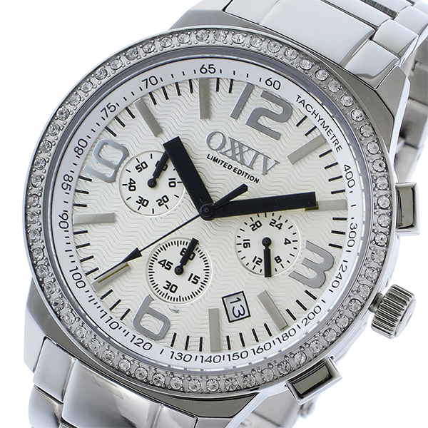 オクシブ OXXIV クロノ クオーツ メンズ 腕時計 時計 OX24-WH ホワイト/シルバー