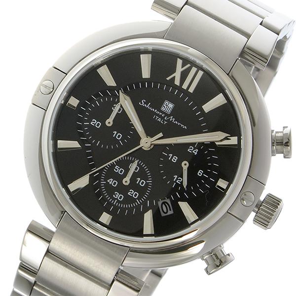 サルバトーレマーラ クロノ クオーツ メンズ 腕時計 時計 SM17106-SSBK ブラック/シルバー